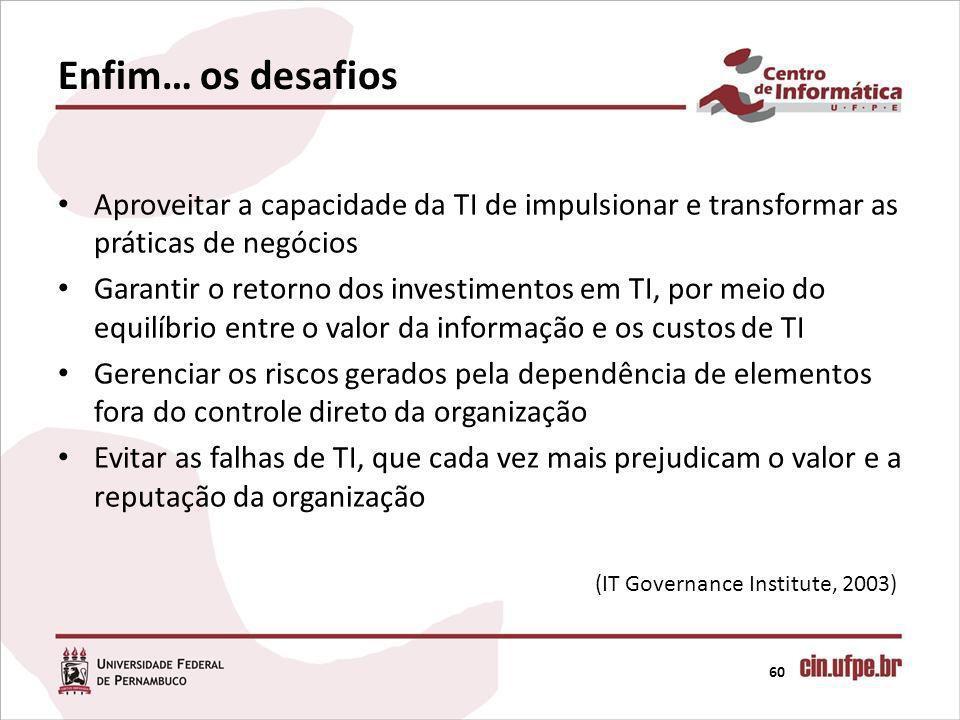 Enfim… os desafios Aproveitar a capacidade da TI de impulsionar e transformar as práticas de negócios.