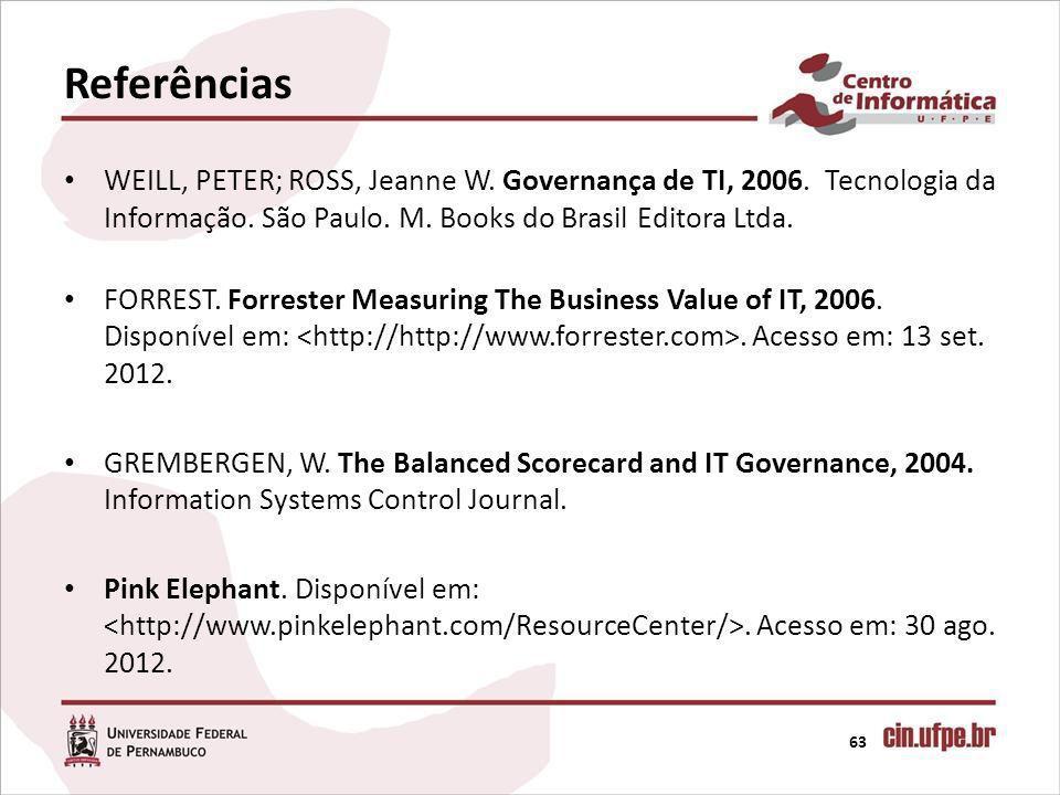 Referências WEILL, PETER; ROSS, Jeanne W. Governança de TI, 2006. Tecnologia da Informação. São Paulo. M. Books do Brasil Editora Ltda.