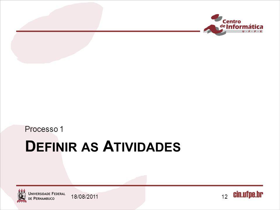Processo 1 Definir as Atividades 18/08/2011