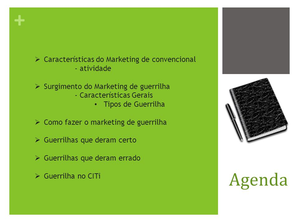 Agenda Características do Marketing de convencional - atividade