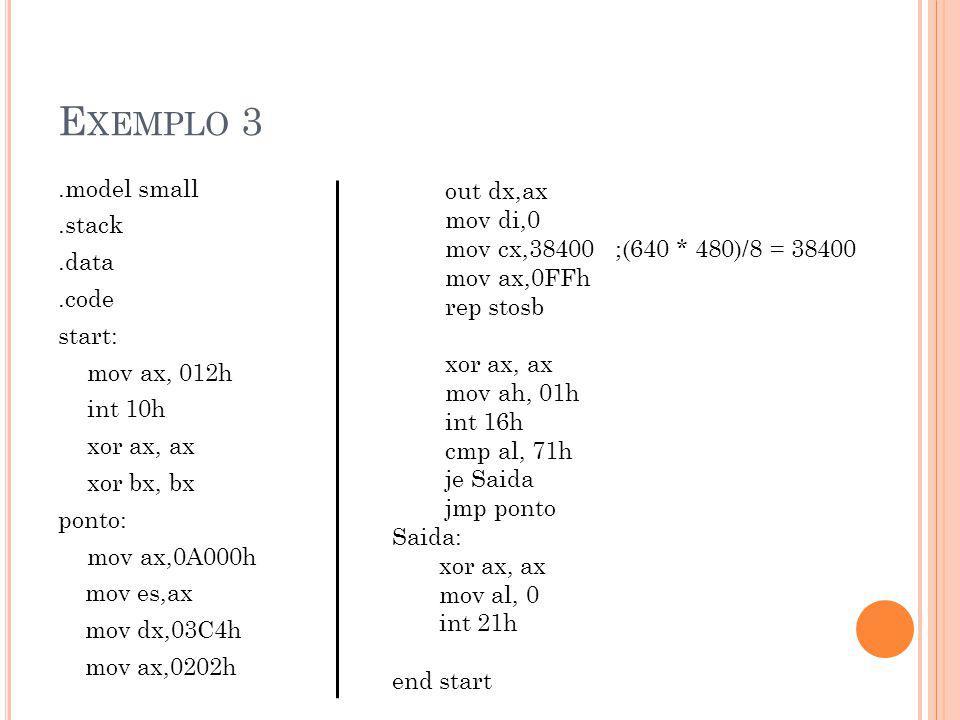 Exemplo 3 out dx,ax. mov di,0. mov cx,38400 ;(640 * 480)/8 = 38400. mov ax,0FFh. rep stosb. xor ax, ax.