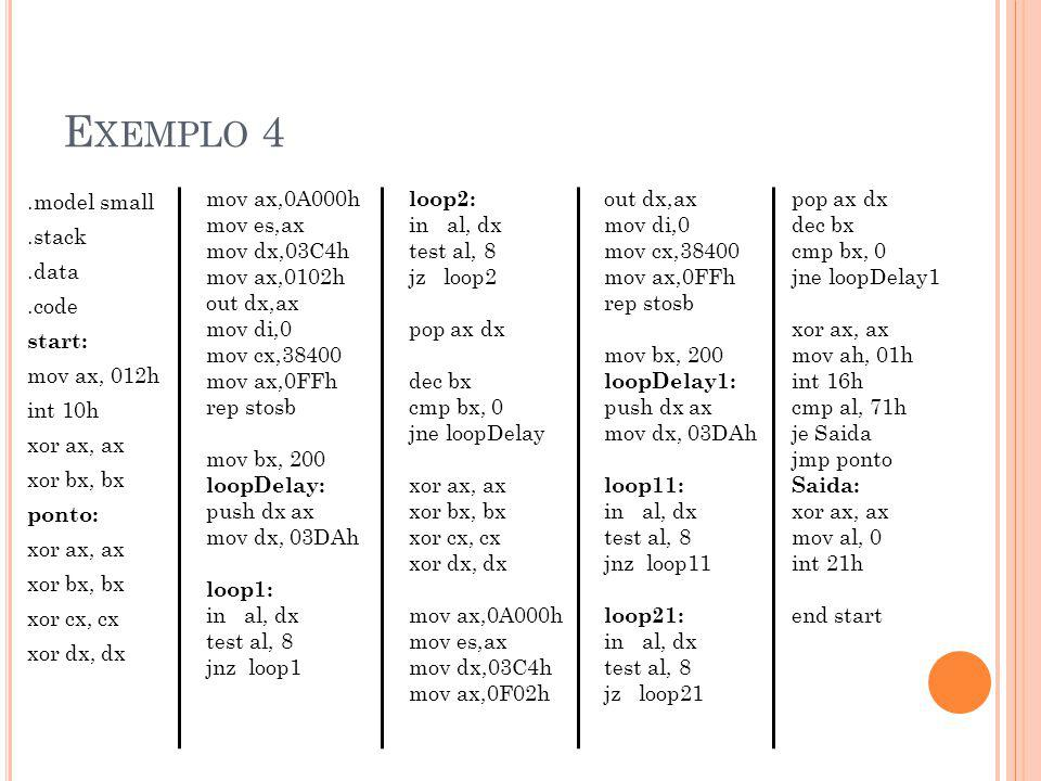 Exemplo 4 .model small .stack .data .code start: mov ax, 012h int 10h xor ax, ax xor bx, bx ponto: xor cx, cx xor dx, dx