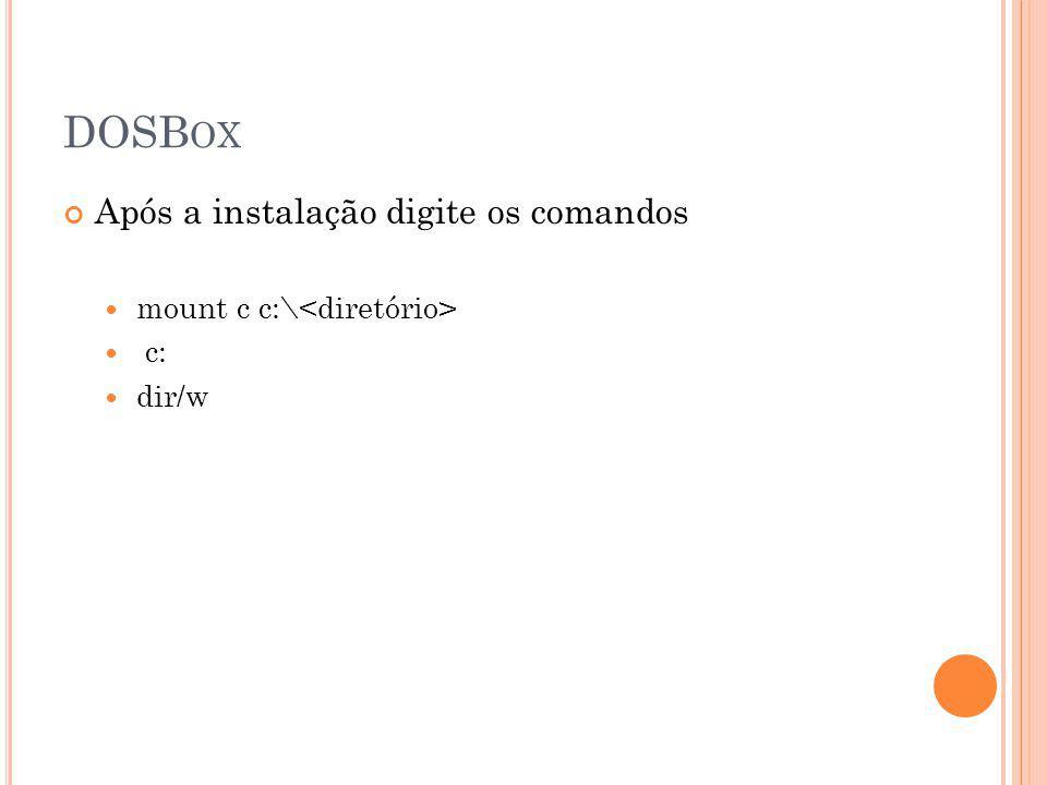DOSBox Após a instalação digite os comandos