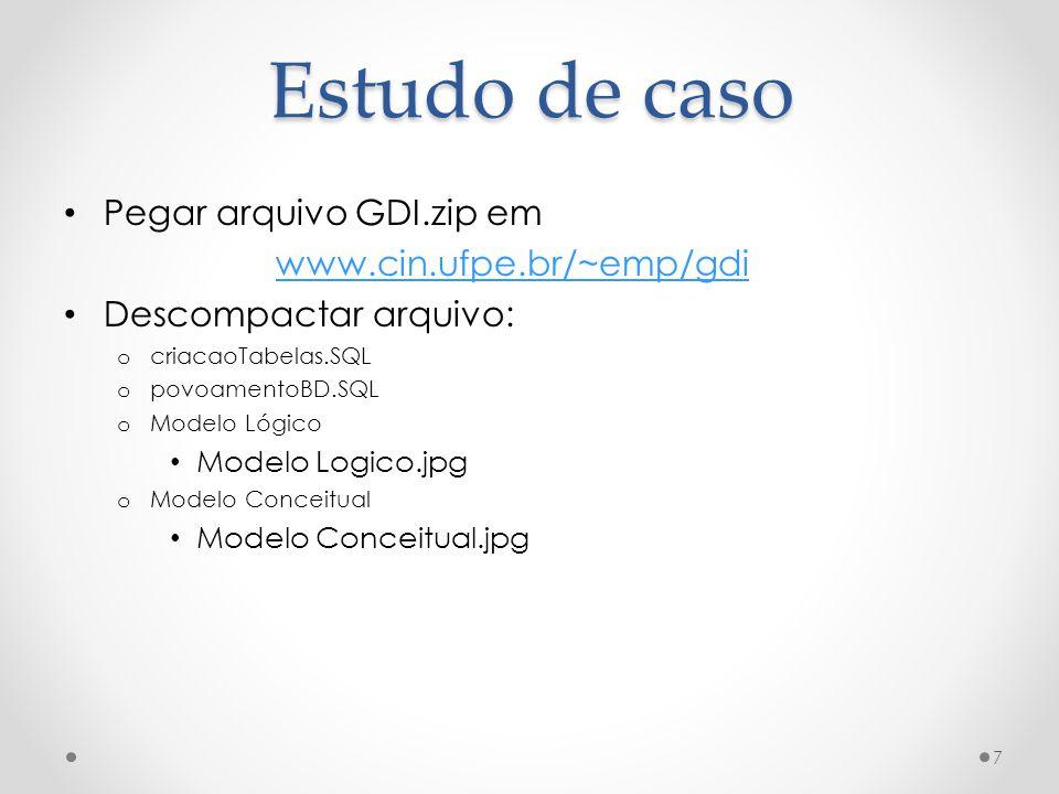 Estudo de caso Pegar arquivo GDI.zip em www.cin.ufpe.br/~emp/gdi