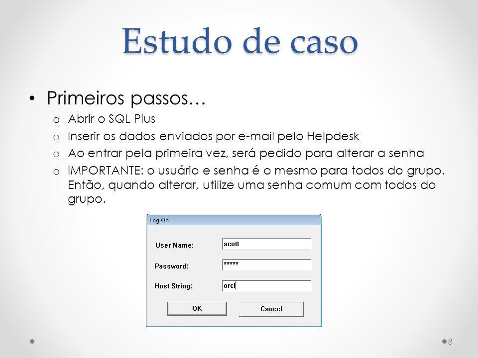 Estudo de caso Primeiros passos… Abrir o SQL Plus
