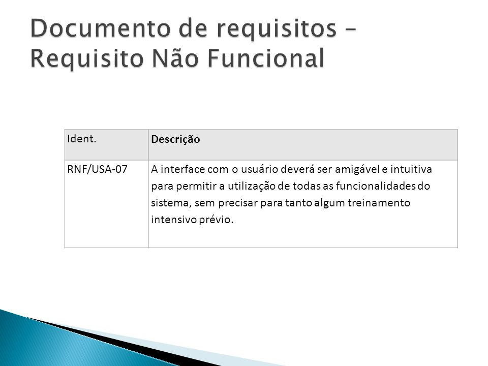 Documento de requisitos – Requisito Não Funcional