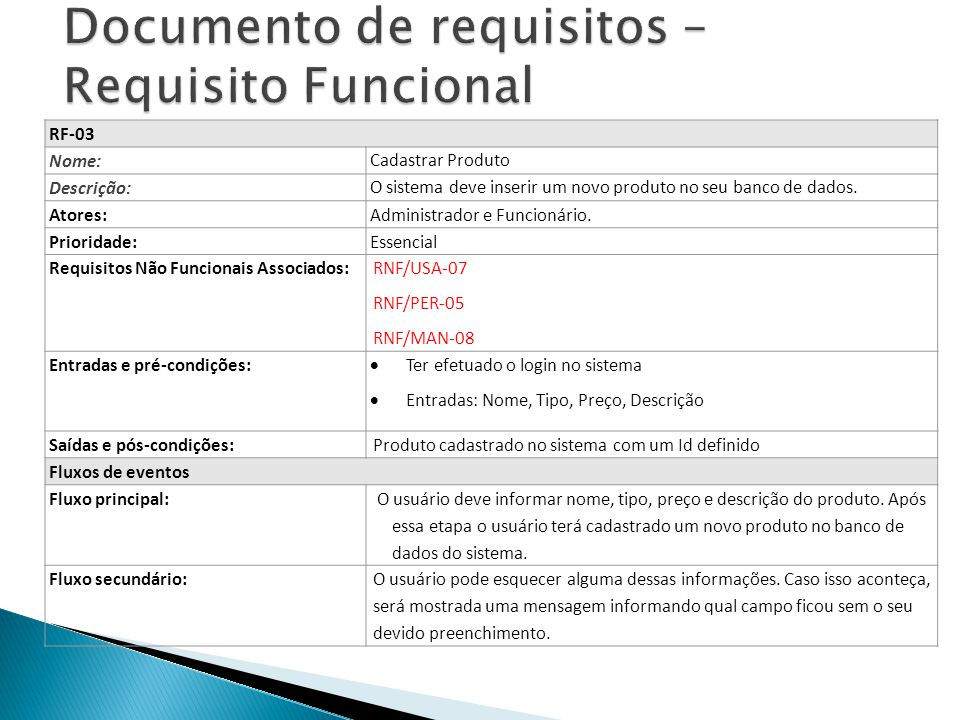 Documento de requisitos – Requisito Funcional