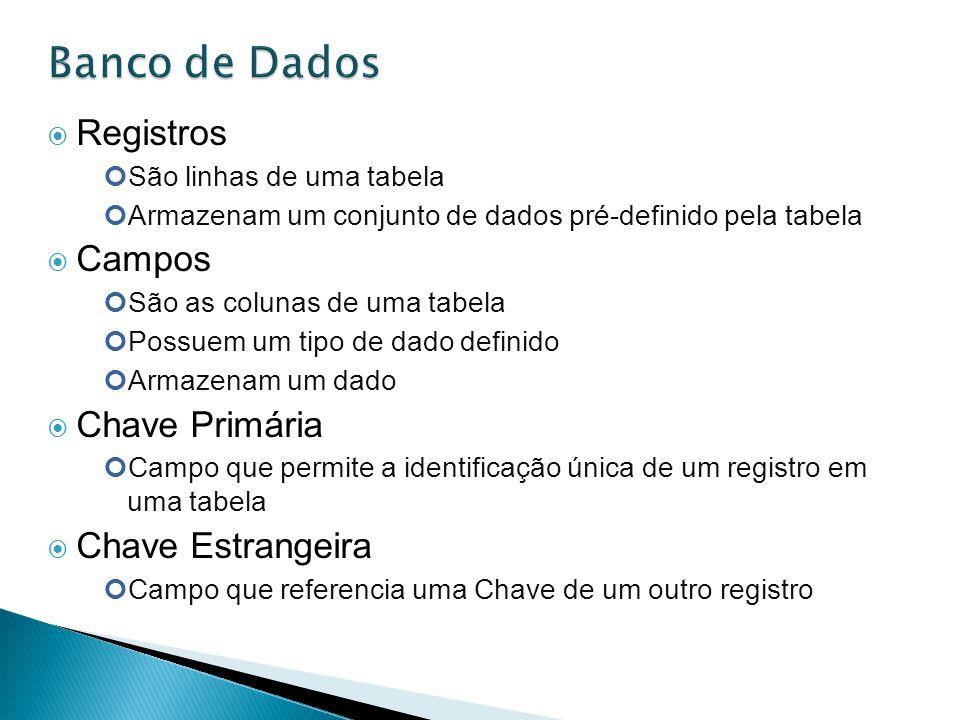 Banco de Dados Registros Campos Chave Primária Chave Estrangeira