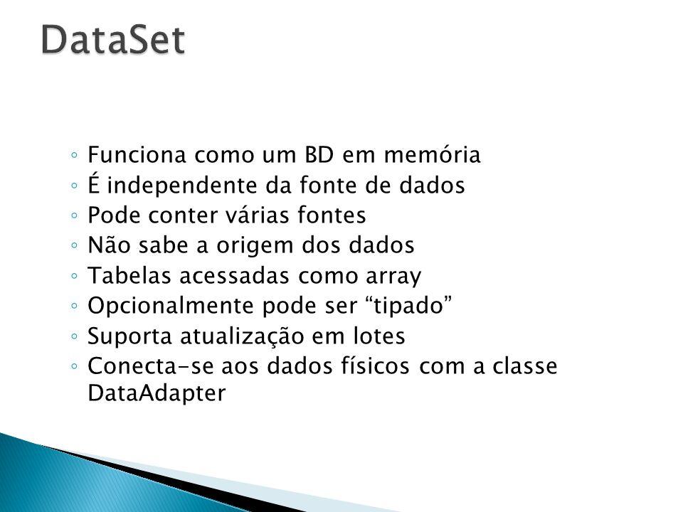 DataSet Funciona como um BD em memória