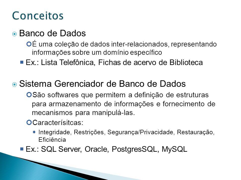 Conceitos Banco de Dados Sistema Gerenciador de Banco de Dados