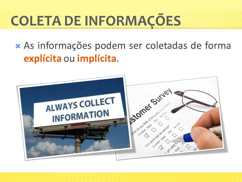 Coleta de informações As informações podem ser coletadas de forma explícita ou implícita.