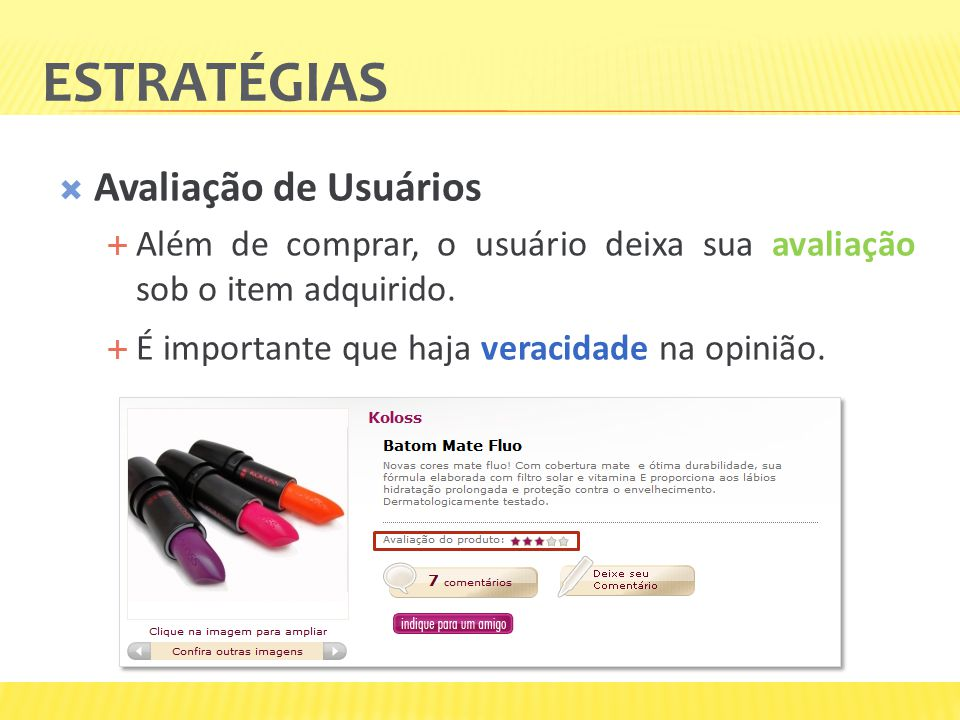 Estratégias Avaliação de Usuários