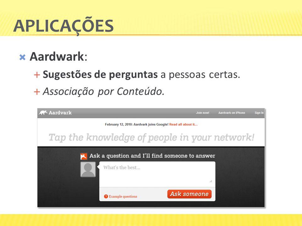 Aplicações Aardwark: Sugestões de perguntas a pessoas certas.