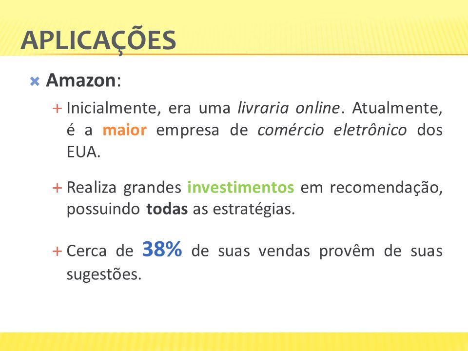 Aplicações Amazon: Inicialmente, era uma livraria online. Atualmente, é a maior empresa de comércio eletrônico dos EUA.