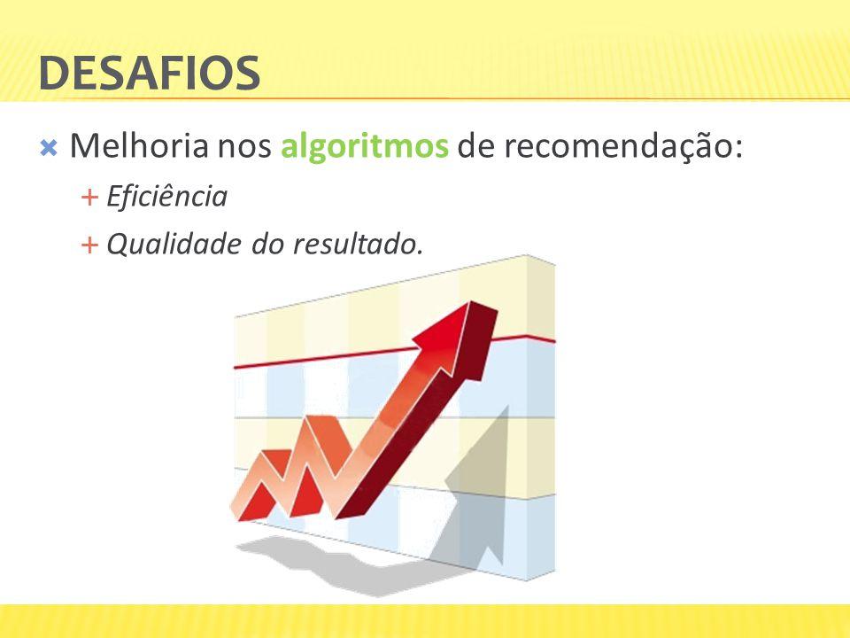 Desafios Melhoria nos algoritmos de recomendação: Eficiência