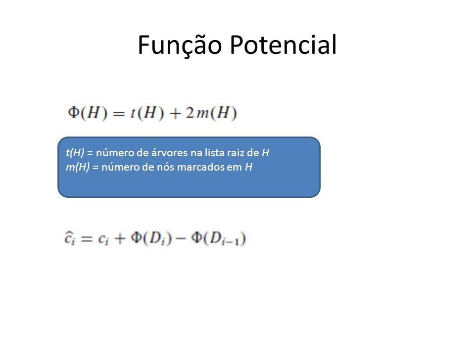 Função Potencial t(H) = número de árvores na lista raiz de H