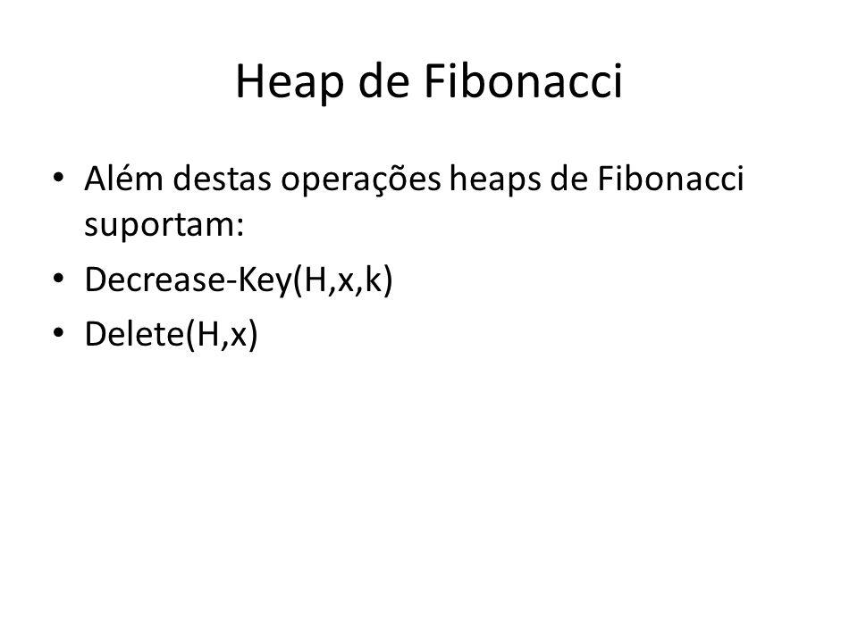 Heap de Fibonacci Além destas operações heaps de Fibonacci suportam: