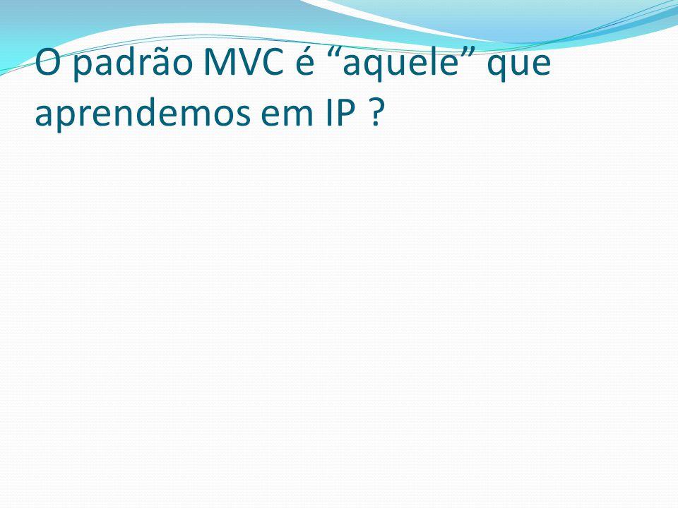 O padrão MVC é aquele que aprendemos em IP