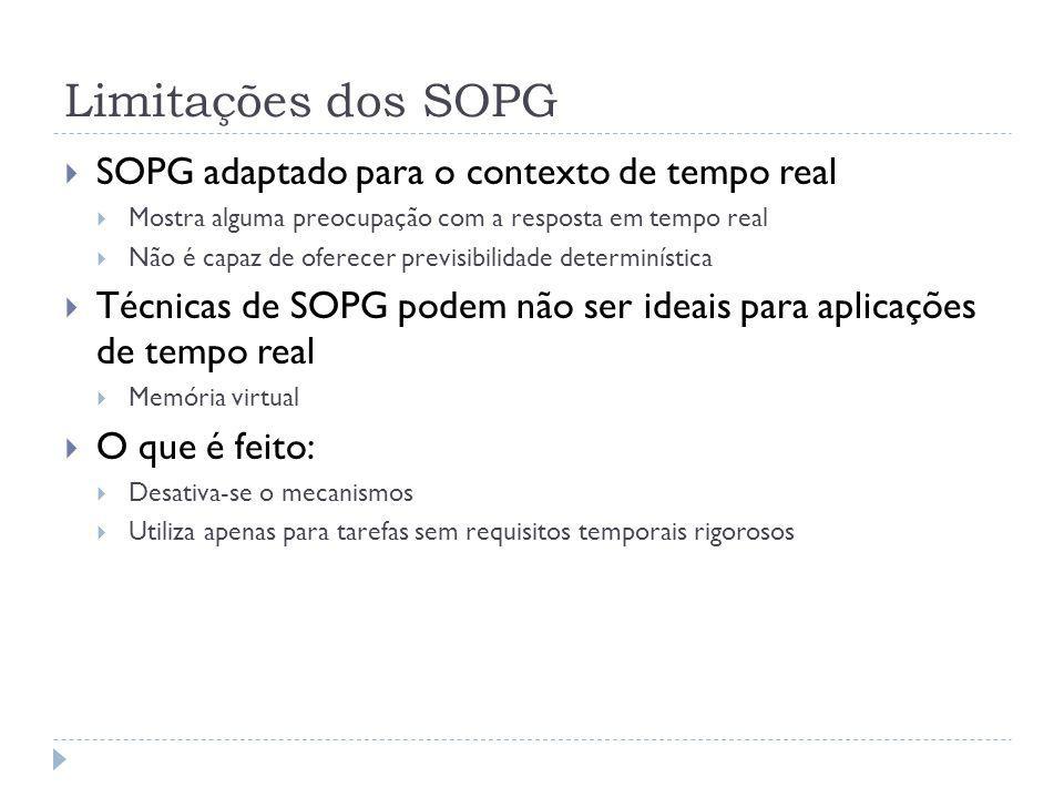 Limitações dos SOPG SOPG adaptado para o contexto de tempo real