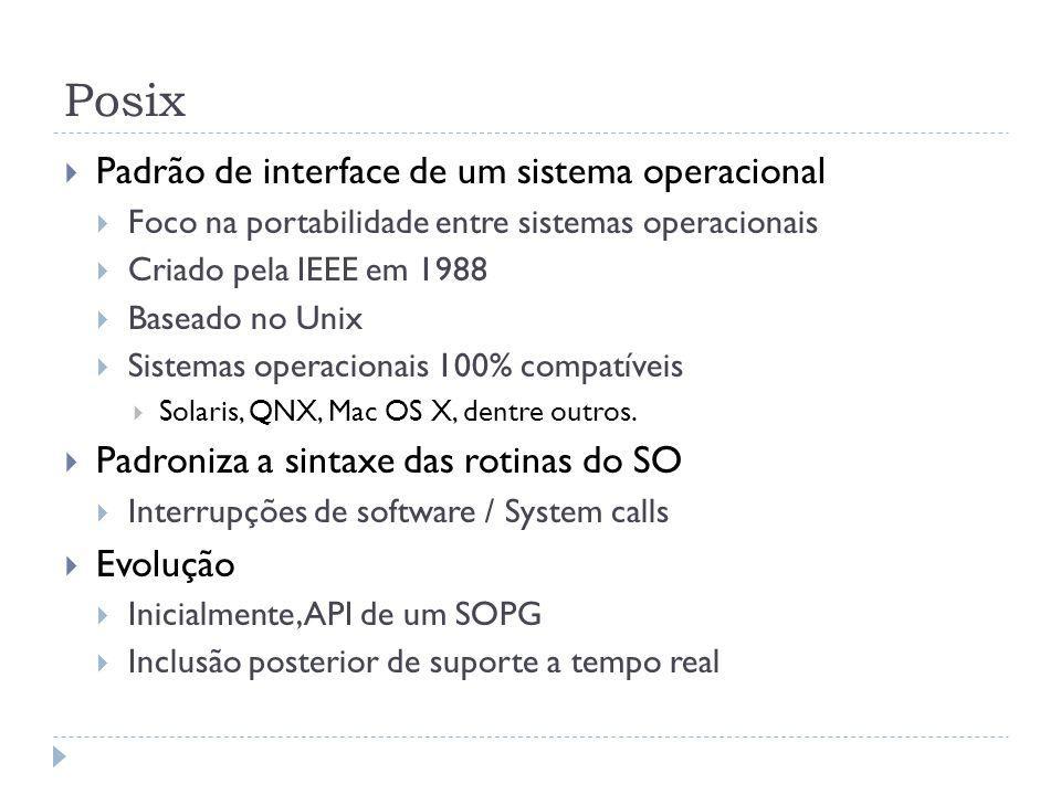 Posix Padrão de interface de um sistema operacional