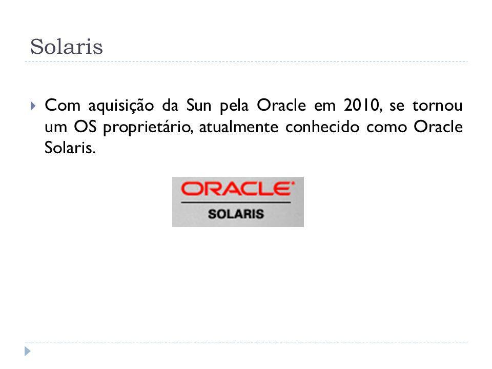 Solaris Com aquisição da Sun pela Oracle em 2010, se tornou um OS proprietário, atualmente conhecido como Oracle Solaris.