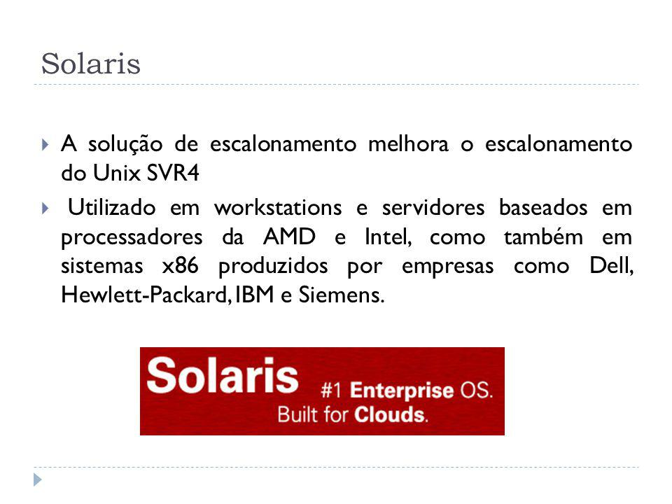Solaris A solução de escalonamento melhora o escalonamento do Unix SVR4.