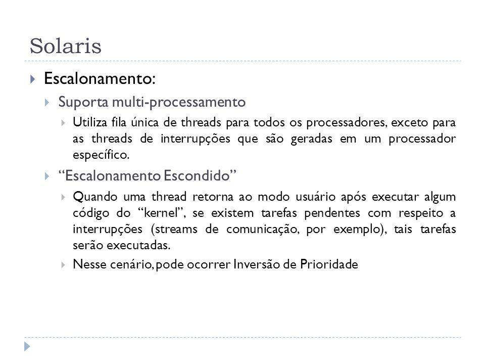 Solaris Escalonamento: Suporta multi-processamento
