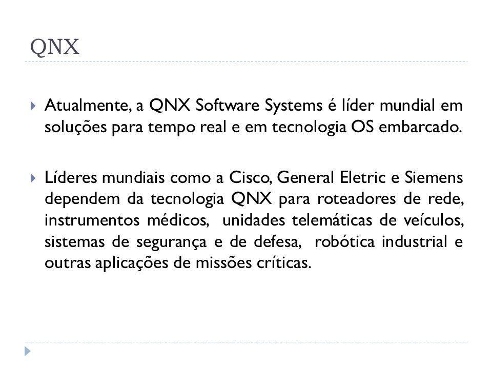 QNX Atualmente, a QNX Software Systems é líder mundial em soluções para tempo real e em tecnologia OS embarcado.