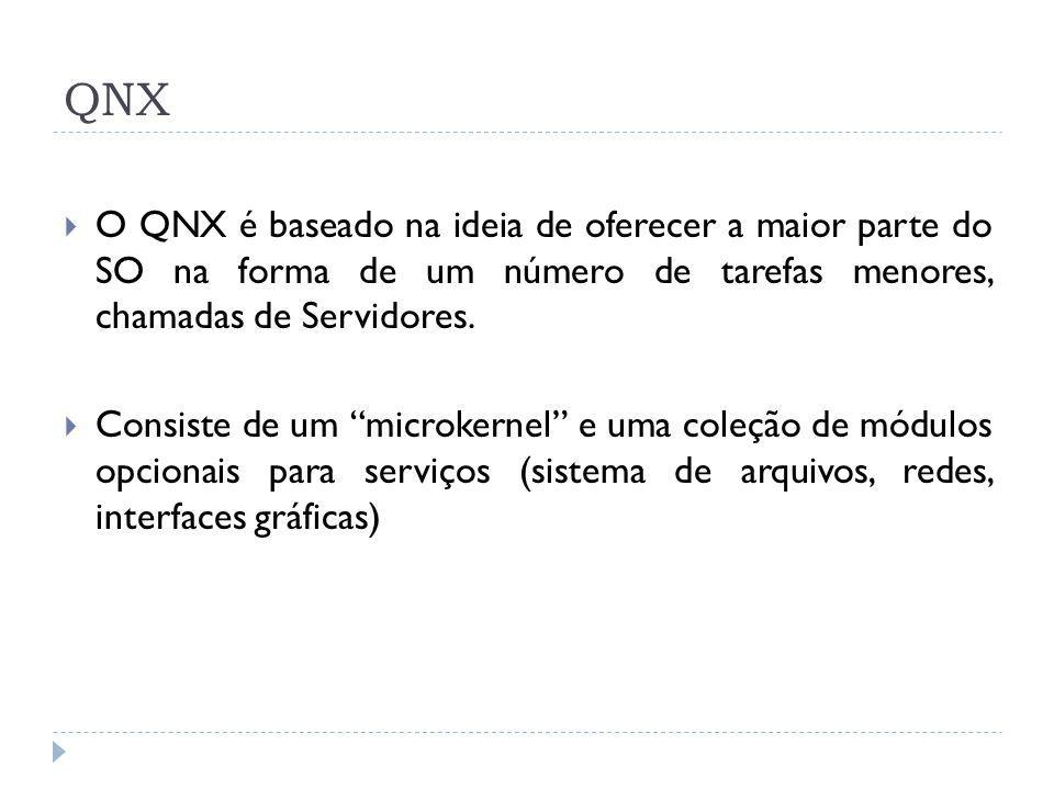 QNX O QNX é baseado na ideia de oferecer a maior parte do SO na forma de um número de tarefas menores, chamadas de Servidores.