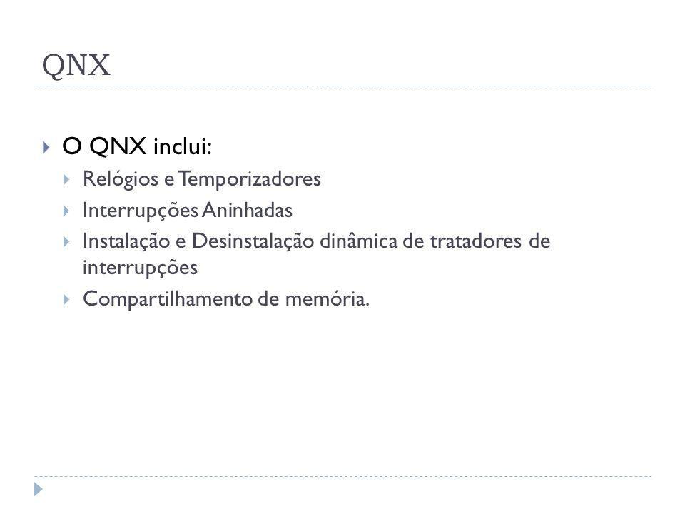QNX O QNX inclui: Relógios e Temporizadores Interrupções Aninhadas