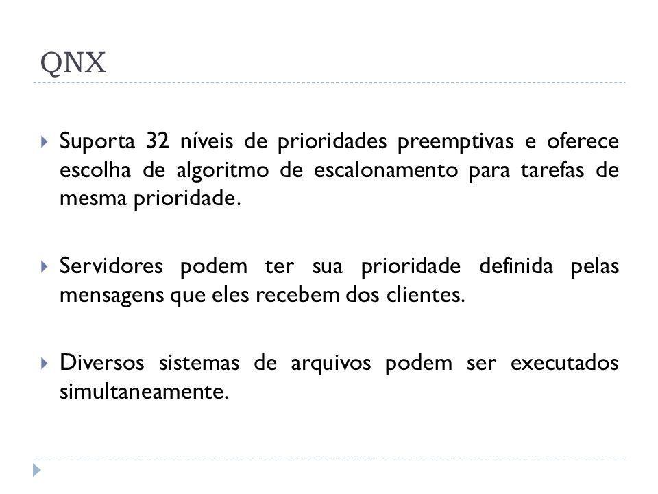 QNX Suporta 32 níveis de prioridades preemptivas e oferece escolha de algoritmo de escalonamento para tarefas de mesma prioridade.