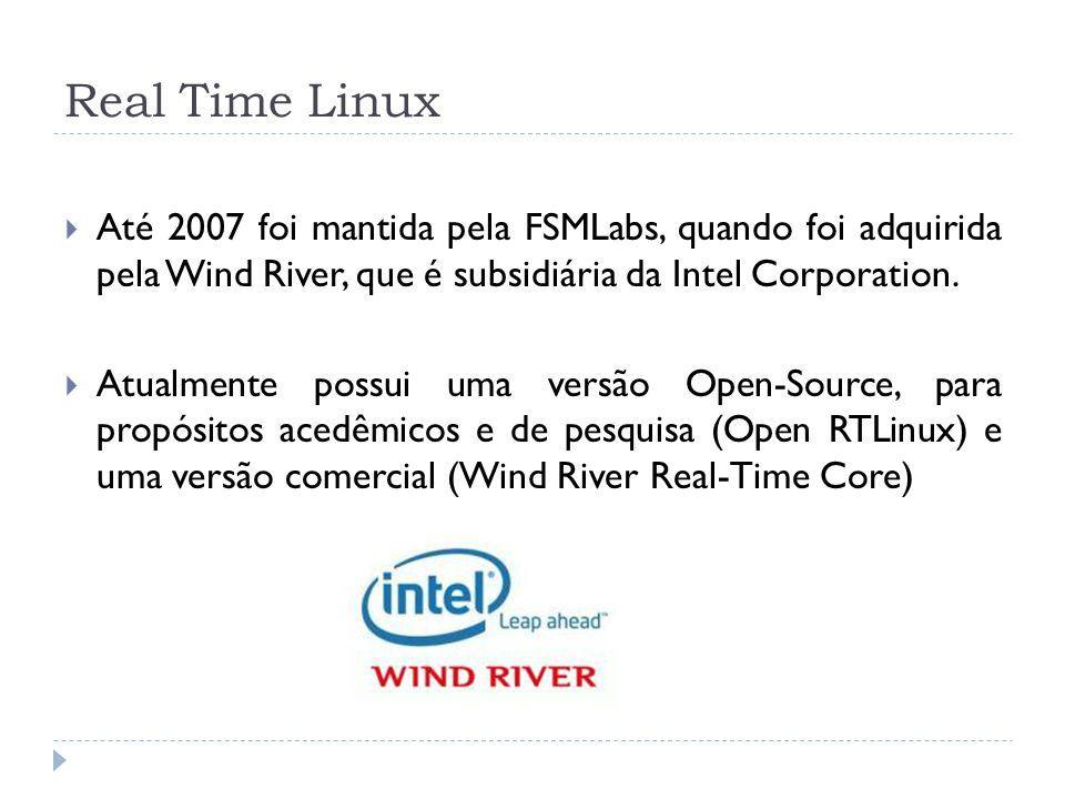 Real Time Linux Até 2007 foi mantida pela FSMLabs, quando foi adquirida pela Wind River, que é subsidiária da Intel Corporation.