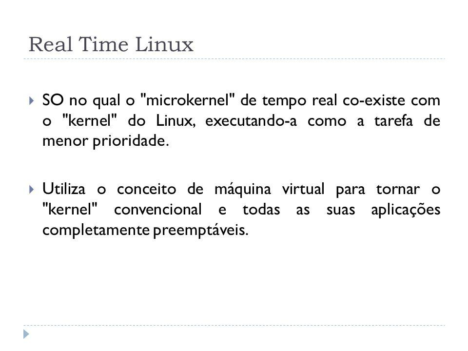 Real Time Linux SO no qual o microkernel de tempo real co-existe com o kernel do Linux, executando-a como a tarefa de menor prioridade.