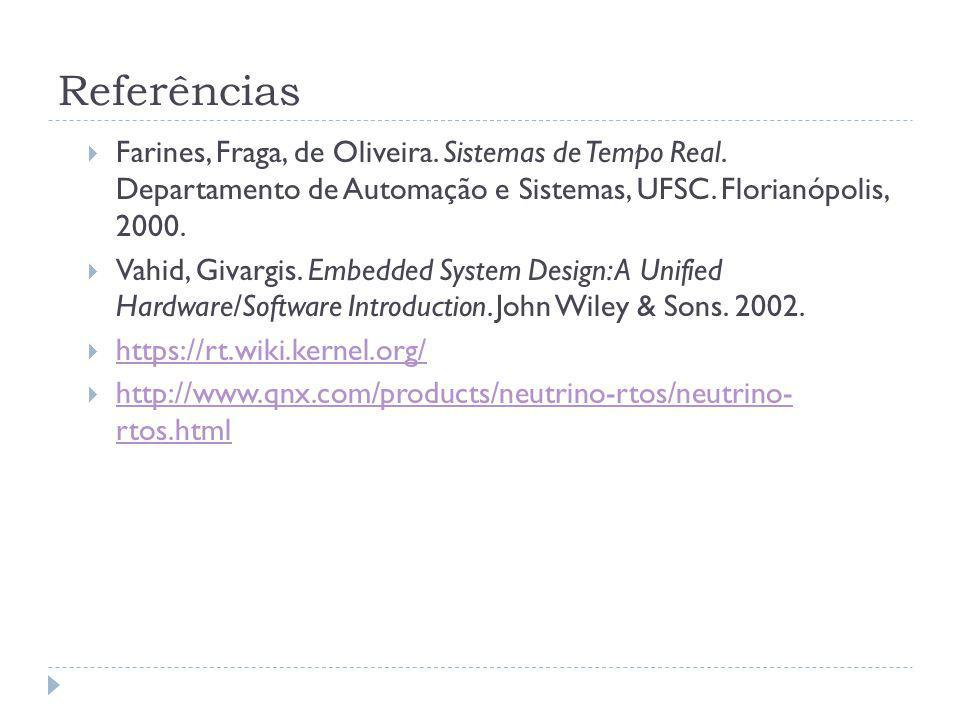 Referências Farines, Fraga, de Oliveira. Sistemas de Tempo Real. Departamento de Automação e Sistemas, UFSC. Florianópolis, 2000.