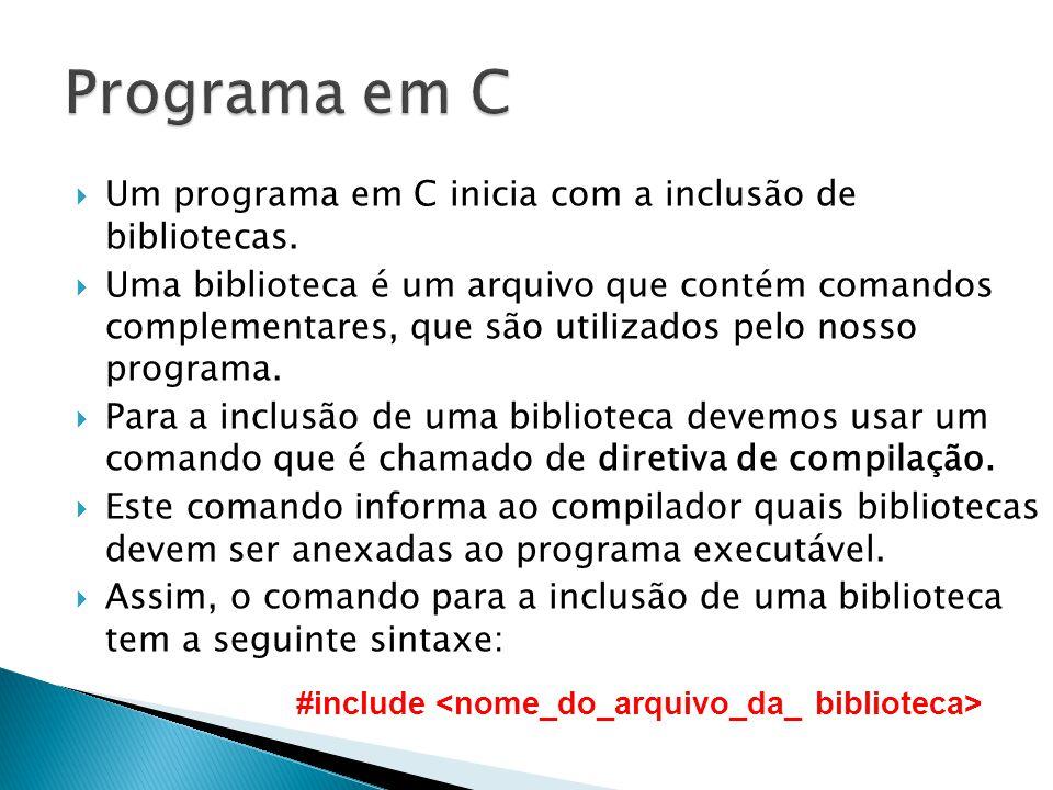 Programa em C Um programa em C inicia com a inclusão de bibliotecas.