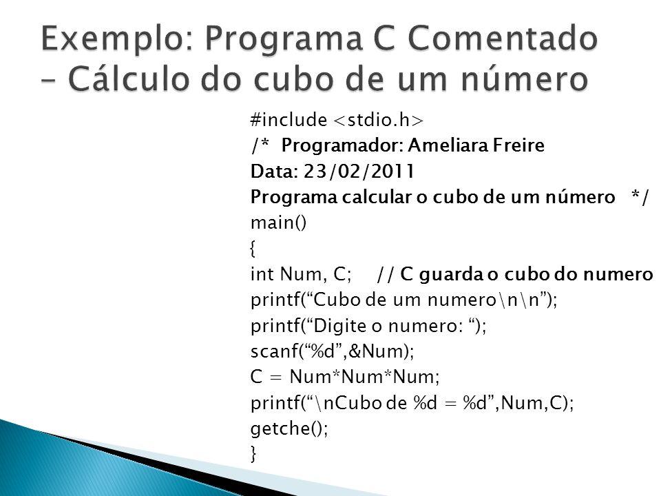Exemplo: Programa C Comentado – Cálculo do cubo de um número