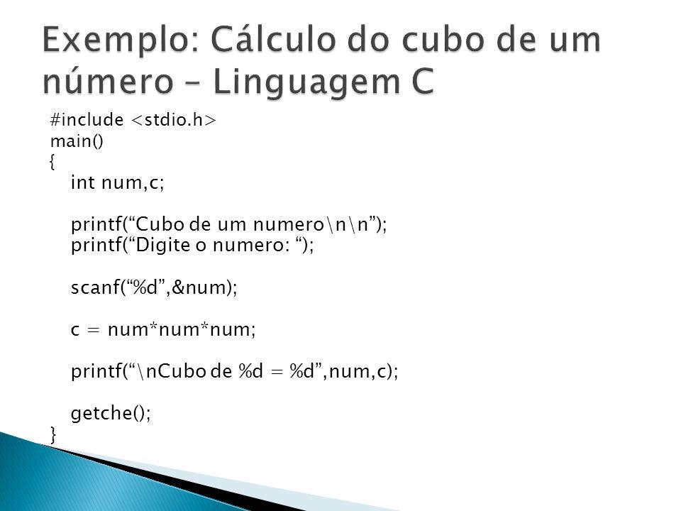 Exemplo: Cálculo do cubo de um número – Linguagem C
