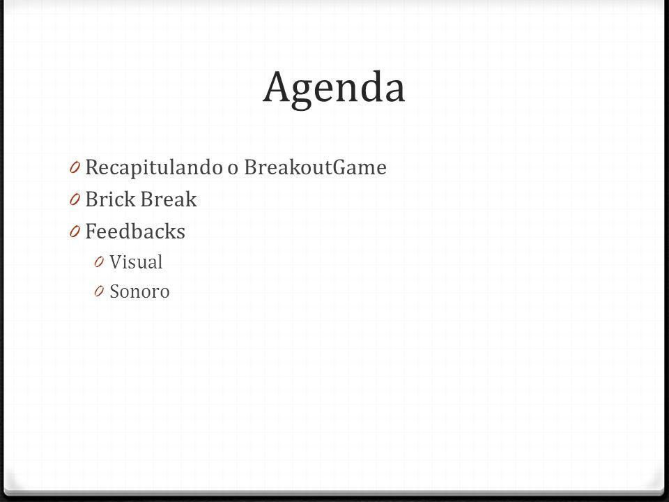 Agenda Recapitulando o BreakoutGame Brick Break Feedbacks Visual