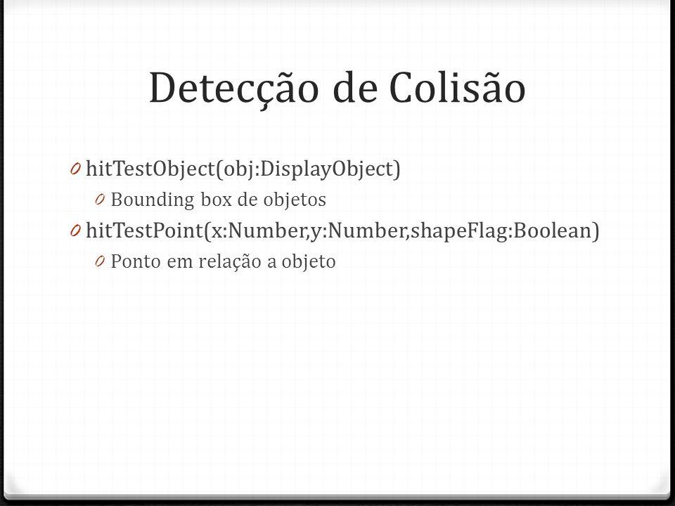 Detecção de Colisão hitTestObject(obj:DisplayObject)