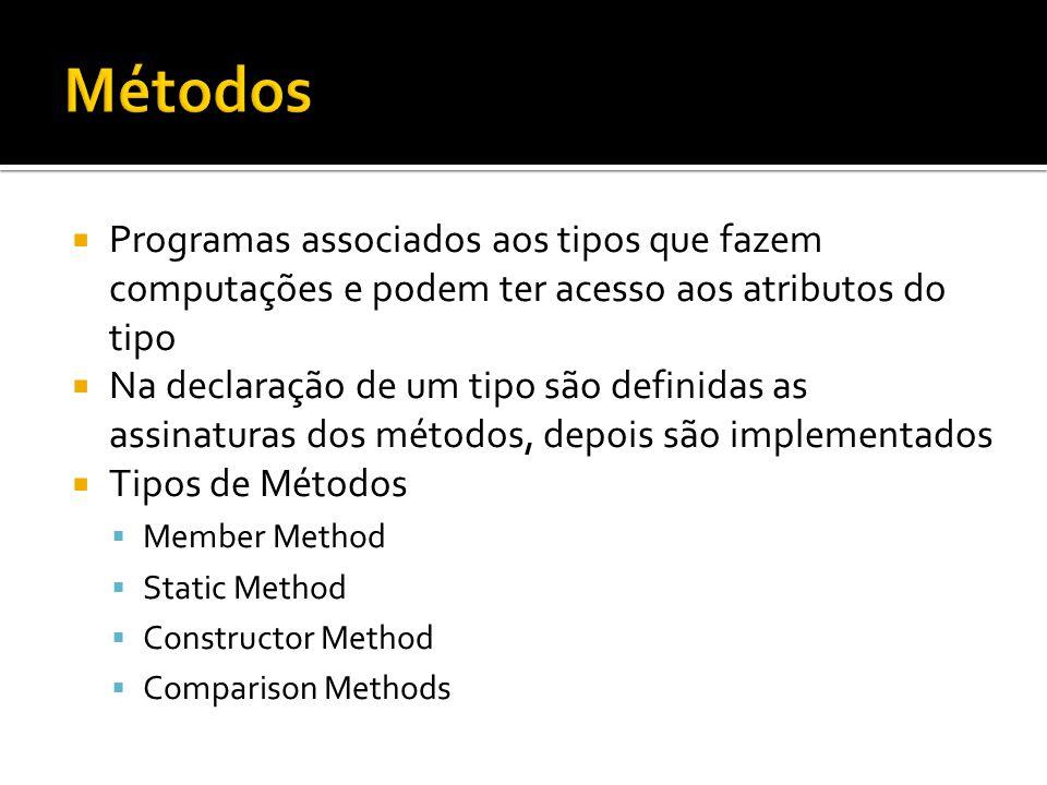 Métodos Programas associados aos tipos que fazem computações e podem ter acesso aos atributos do tipo.