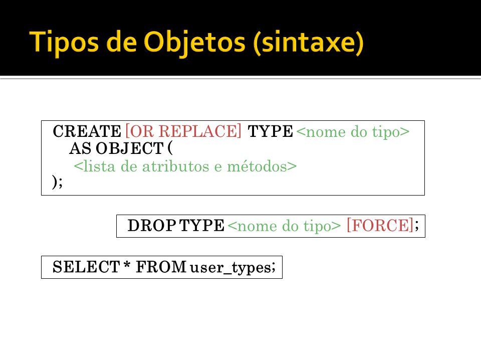 Tipos de Objetos (sintaxe)