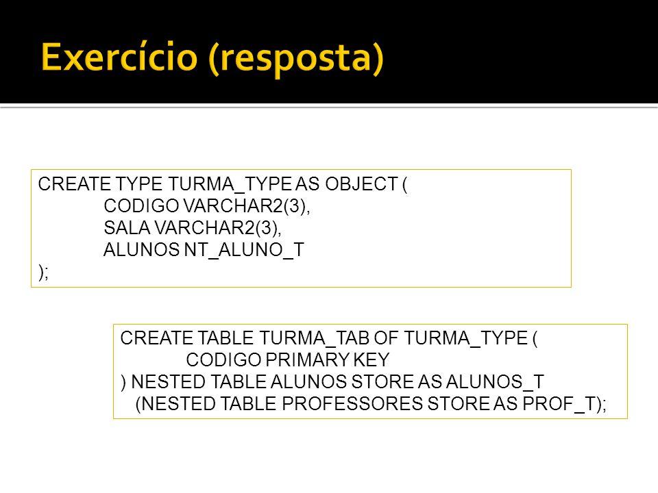 Exercício (resposta) CREATE TYPE TURMA_TYPE AS OBJECT (