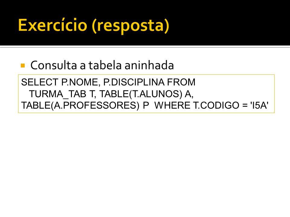 Exercício (resposta) Consulta a tabela aninhada