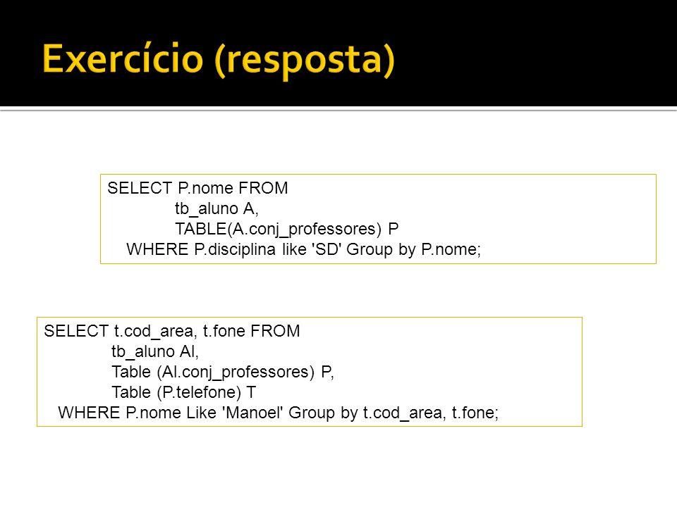 Exercício (resposta) SELECT P.nome FROM tb_aluno A,