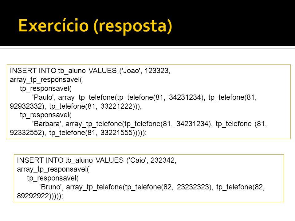 Exercício (resposta) INSERT INTO tb_aluno VALUES ( Joao , 123323,