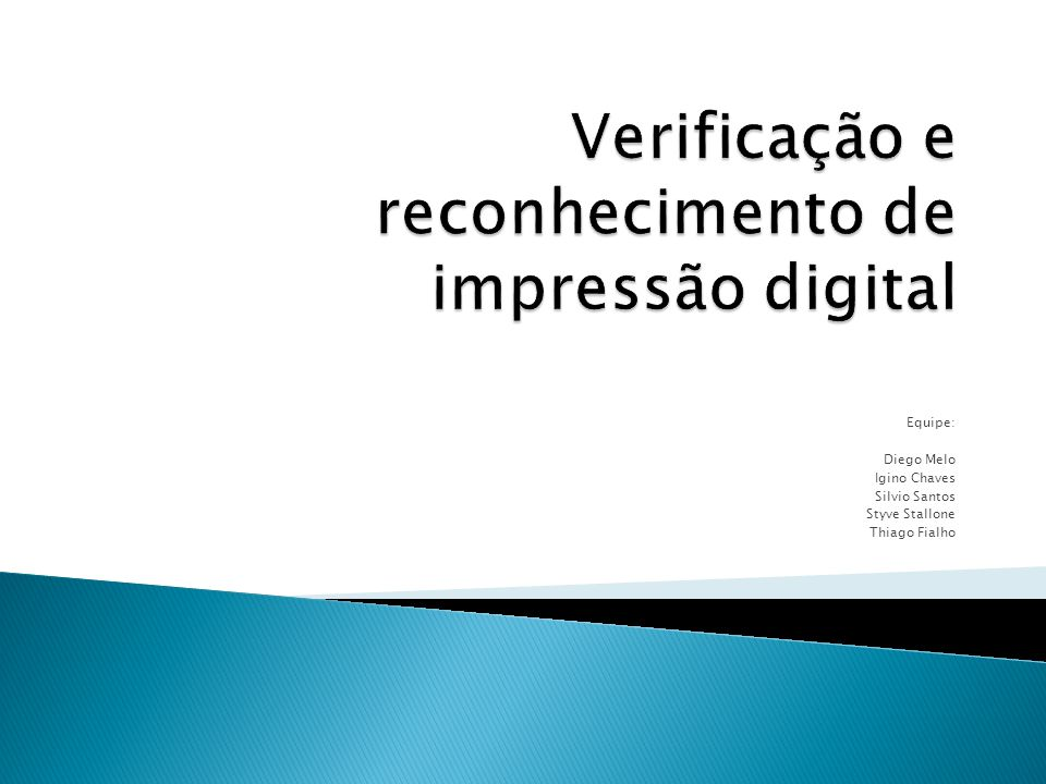 Verificação e reconhecimento de impressão digital
