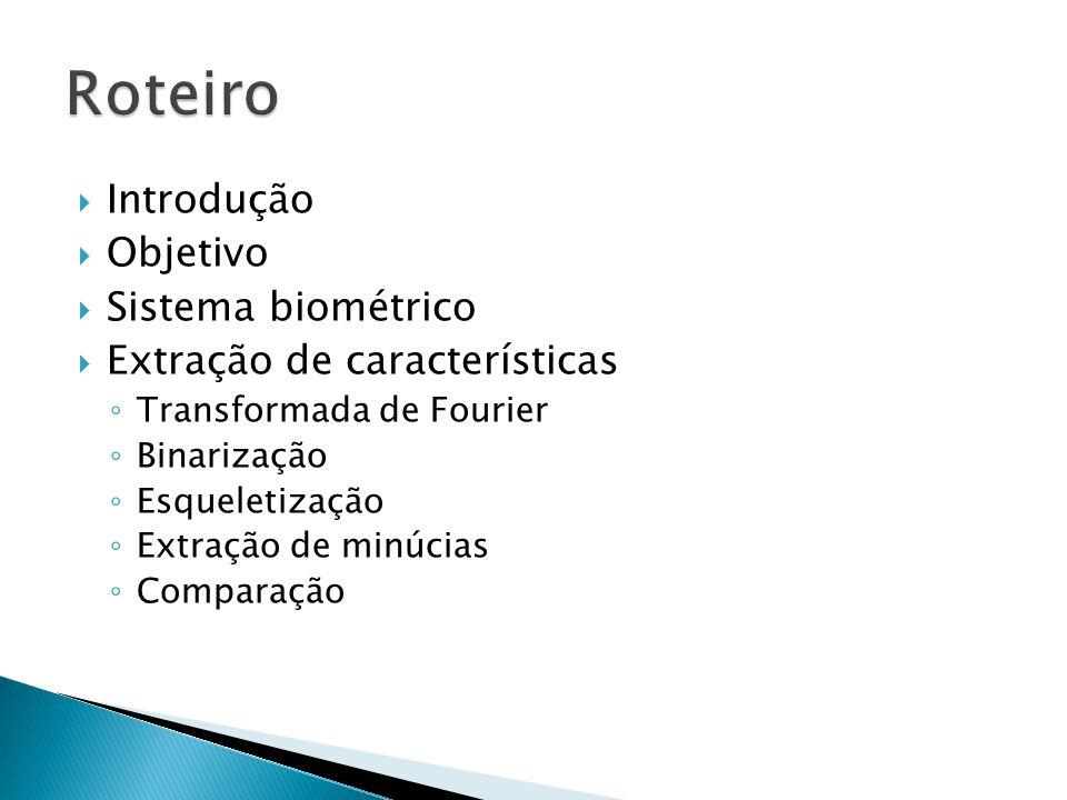 Roteiro Introdução Objetivo Sistema biométrico
