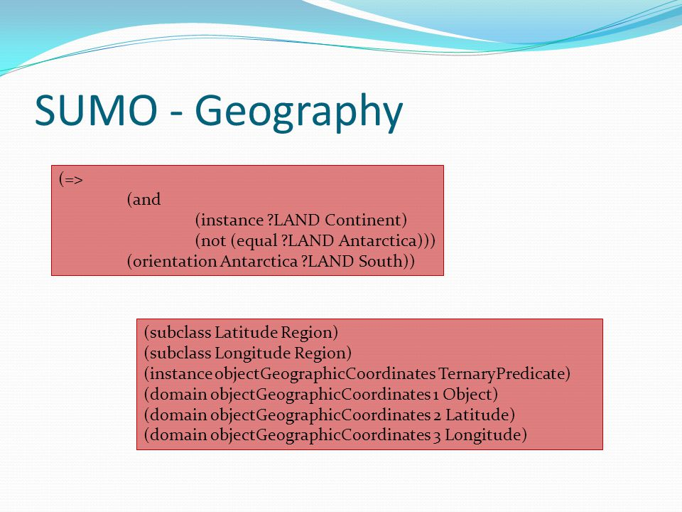SUMO - Geography (=> (and (instance LAND Continent)