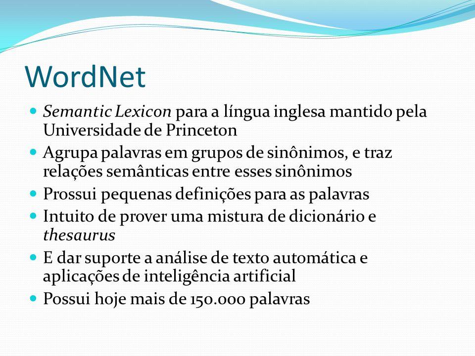 WordNet Semantic Lexicon para a língua inglesa mantido pela Universidade de Princeton.