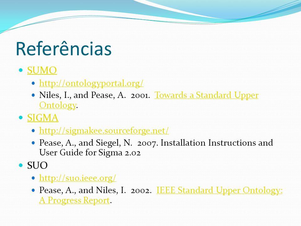 Referências SUMO SIGMA SUO http://ontologyportal.org/